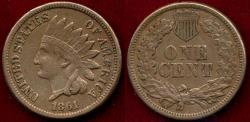 Us Coins - 1861 INDIAN 1c XF