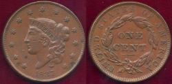 Us Coins - 1837 LARGE CENT... Plain cord Small Letters   XF45