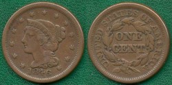 Us Coins - 1846  small date  1c  ....  VERY FINE