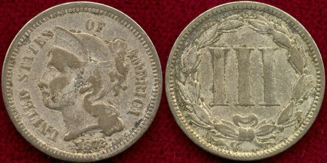 US Coins - 1872 Nickel 3c..... FINE