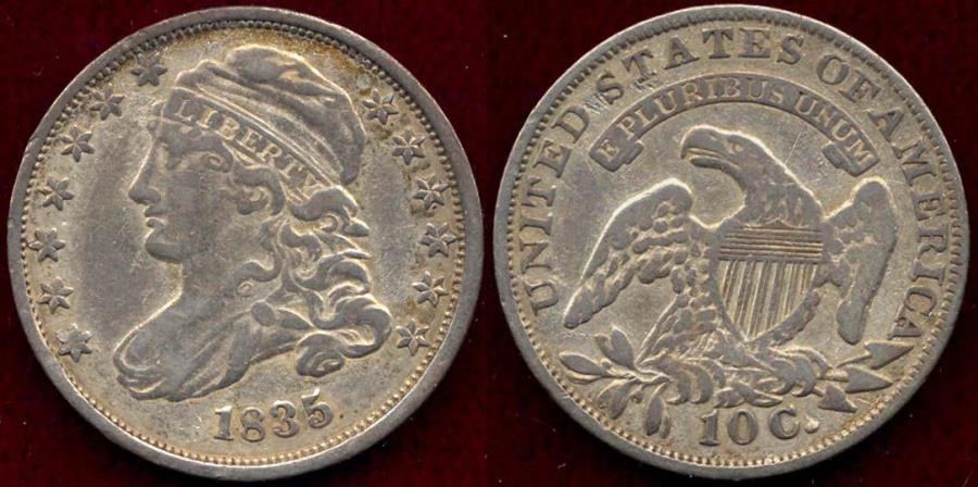 US Coins - 1835 BUST DIME  XF40