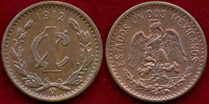North & Central America Mexico 1 Cent Coin 1912 Coins