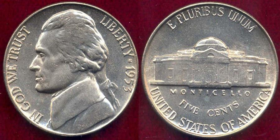 US Coins - 1953 JEFFERSON 5c  MS65