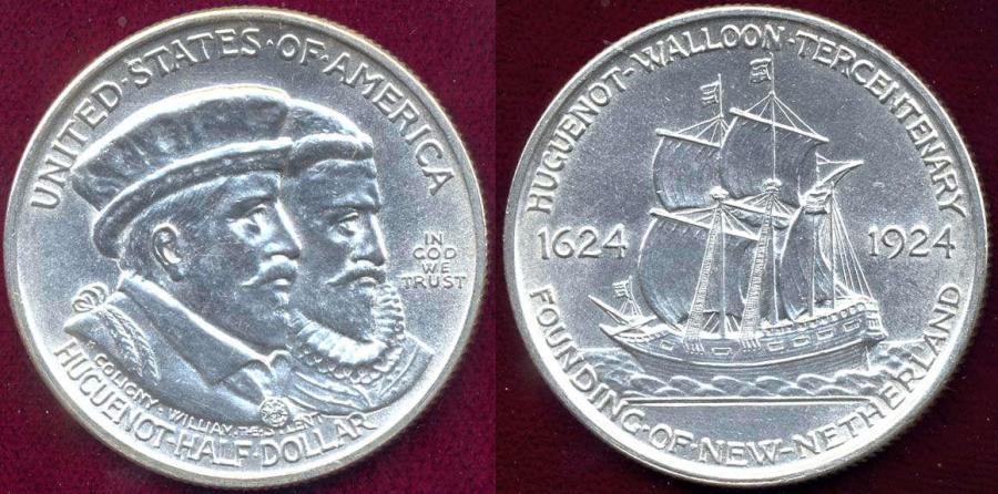 US Coins - HUGEONOT WALLOON 1924 50c Comemmorative  MS63
