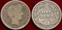 Us Coins - 1897-S  BARBER 10c  VERY GOOD