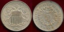 Us Coins - 1866 SHIELD 5c AU58