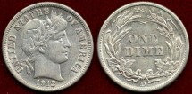 Us Coins - 1912-D BARBER 10c  About UNCIRCULATED