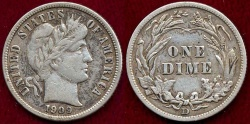 Us Coins - 1909-D BARBER 10c  VF