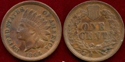 Us Coins - 1864BR 1c  EXTRA FINE+