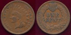 Us Coins - 1872 INDIAN 1c VF