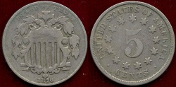 Us Coins - 1876 SHIELD 5c  FINE