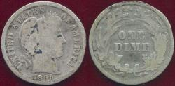 Us Coins - 1896 BARBER DIME GOOD