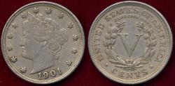 Us Coins - 1901 LIBERTY 5c  XF45