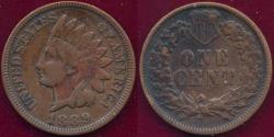 Us Coins - 1889 INDIAN 1c  XF