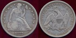 Us Coins - 1872 SEATED DOLLAR  FINE