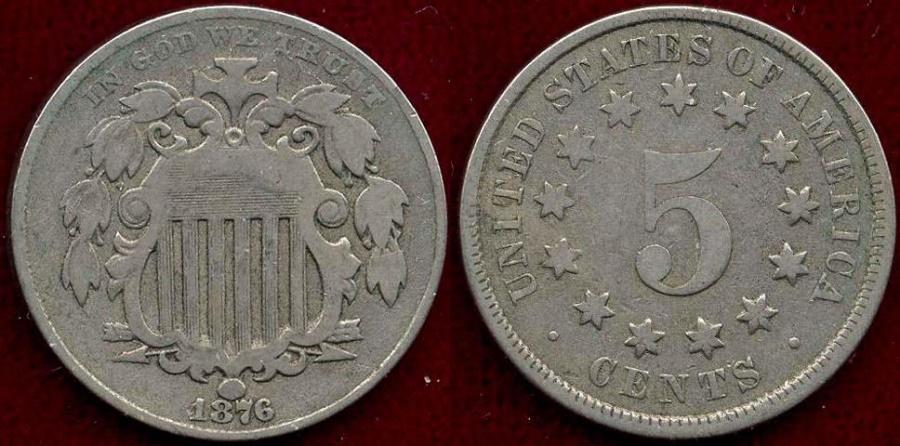 US Coins - 1876 SHIELD 5c  FINE