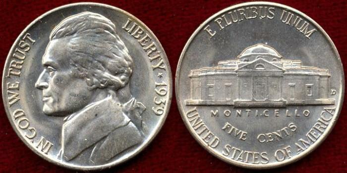 US Coins - 1939-D Jefferson 5c .... MS65 BU