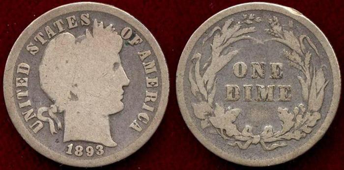 US Coins - 1893 BARBER 10c  GOOD