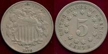 Us Coins - 1870 SHIELD 5c  VF