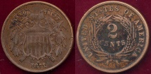 Us Coins - 1871 TWO CENT  XF Details