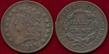 Us Coins - 1811 HALF CENT  XF45