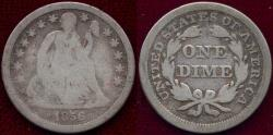Us Coins - 1856 sm.date  SEATED DIME VG