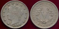Us Coins - 1906 LIBERTY 5c XF