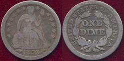 Us Coins - 1853 Arrows  SEATED DIME  VG