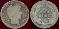 Us Coins - 1903-O BARBER DIME GOOD