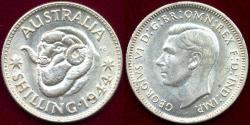 World Coins - AUSTRALIA  1944-S  SHILLING  .. KING GEORGE VI
