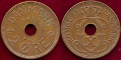 World Coins - DENMARK 1927  2 ORE ..... EXTRA FINE
