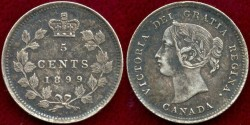 World Coins - CANADA.....1899  Silver 5 Cent