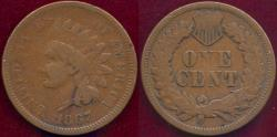 Us Coins - 1867 INDIAN 1c  FINE 15