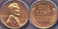 Us Coins - 1953 LINCOLN CENT  GEM PR65 RD ... NO SPOTS