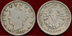 Us Coins - 1912 LIBERTY 5c ....  VERY FINE