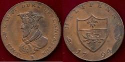 World Coins - LANCASTER ENGLAND 1794 ...  CONDOR 1/2Penny Token