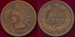 Us Coins - 1872 INDIAN 1c FINE