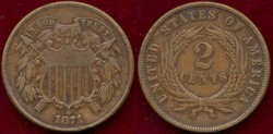 Us Coins - 1871  2c  EXTRA FINE