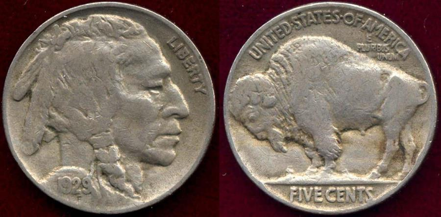 US Coins - 1929 BUFFALO 5c  XF