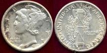 Us Coins - 1925-S MERCURY 10c AU