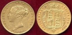 World Coins - GREAT BRITAIN 1869  GOLD 1/2 SOVEREIGN  XF