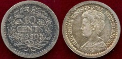 World Coins - NETHERLANDS 1910 ... 10 CENT...  About UNCIRCULATED
