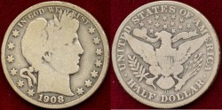 Us Coins - 1908-O BARBER 50c.... GOOD