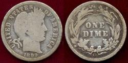 Us Coins - 1899-O BARBER DIME GOOD+