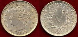 Us Coins - 1899 LIBERTY 5c .... CHOICE About UNCIRCULATED