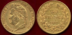 World Coins - FRANCE 1840-A GOLD 20 FRANC .... LOUIS PHILIPPE