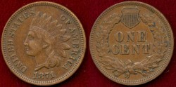 Us Coins - 1871  INDIAN 1c  ...  EXTRA FINE