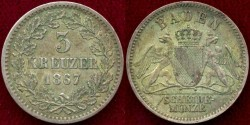 World Coins - BADEN 1867 ....... 3 KREUZER