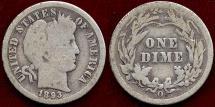 1893-O  BARBER 10c  GD+