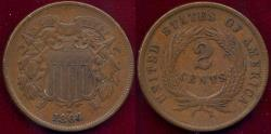 Us Coins - 1864 TWO CENT  XF